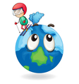 a boy playing skating on earth globe vector image vector image