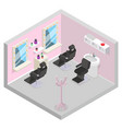 barbershop isometric hair wash salon room barber vector image vector image