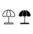 beach umbrella line and glyph icon parasol vector image vector image