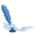 blue feather pen in the ink and paper vector image