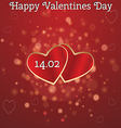 card for Valentines Day with two hearts vector image