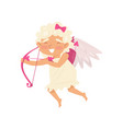 cheerful cupid in flying action angel of love vector image vector image