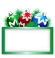 Christmas balls with pine and frame on white vector image