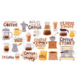 coffee quotes and cups morning breakfast hot vector image vector image