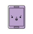 color kawaii smartphone cute surprised face vector image