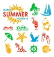 colorful 15 summer icons vector image vector image