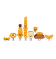 doodle bread characters set vector image