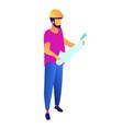engineer wearing safety helmet holding blueprint vector image