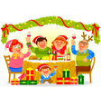 family celebrating christmas vector image