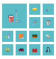 flat icons sofa faucet sponge and other vector image vector image