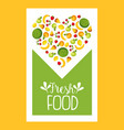 fresh farm food banner template with fruits vector image vector image