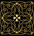 golden patterns with 3d effect on black background vector image vector image