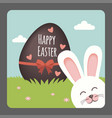 happy easter with bunny smiling and chocolate egg vector image vector image