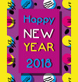 happy new year over color backgroun design vector image