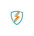 light bolt electric shield protection logo vector image vector image