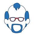 man faceless wearing glasses blue hair in white vector image vector image