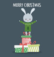 merry christmas celebration cute rabbit with vector image vector image