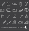 Office Supplies and Stationery Line Icons Set vector image vector image