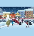people walking in town during winter vector image