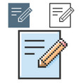 pixel icon document and pencil in three vector image vector image