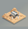 planetary rover astronauts isometric composition vector image vector image