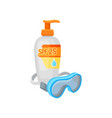 plastic bottle of sunscreen cream with dispenser vector image