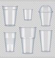plastic cups transparent empty vessel for vector image