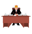 president in crown at desk modern king is vector image vector image