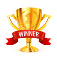realistic golden trophy with winner ribbon vector image vector image