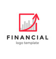 red line and arror financial logo design template vector image