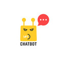 rude yellow chatbot icon with red speech bubble vector image vector image