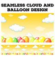 Seamless cloud and balloon design vector image vector image