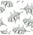 seamless pattern with drawing olive branch vector image