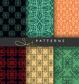 Set 6 seamless retro geometric patterns Background vector image vector image