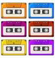 set of multi-colored audio cassette icons vector image vector image