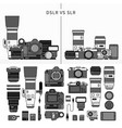 set photography tools line monochrome vector image vector image