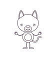 Sketch contour caricature of cute cat happiness vector image