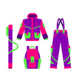 skiing hiking winter sport down jacket vector image