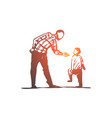 son father angry scold conflict concept vector image