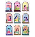 stay at home quarantine men and women in windows vector image