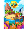 Summer theme with sun and island vector image vector image