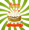 Sweet cake with candles Greeting card vector image vector image