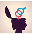 thinking concept-Human head with male and female vector image vector image