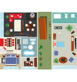 top view apartment interior set vector image vector image