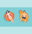 top view people floating on air mattress vector image vector image