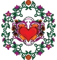 Valentine card decor Heart with flowers vector image