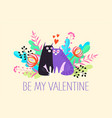 valentines day card with a couple cartoon cats vector image vector image