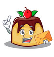 with envelope pudding character cartoon style vector image vector image