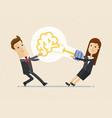 businessman and woman pull a big lightbulb brain vector image