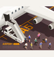 airstairs isometric airport background vector image vector image